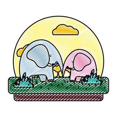 doodle adorable elephant couple animal in the landscape vector illustration