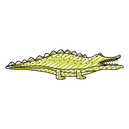 doodle adorable crocodile wild animal creature vector illustration