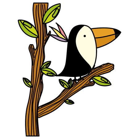 color adorable toucan animal in the tree branch leaves vector illustration