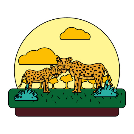 color adorable leopard couple animal in the landscape vector illustration Ilustração