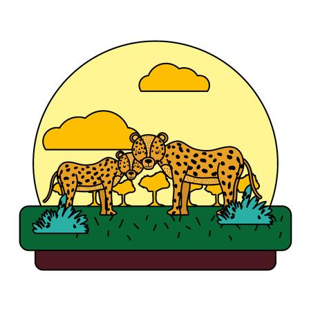 color adorable leopard couple animal in the landscape vector illustration Illustration