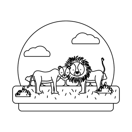 line adorable lion couple animal in the landscape vector illustration