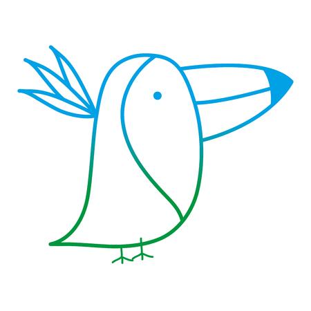 degraded line adorable toucan wild animal creature vector illustration