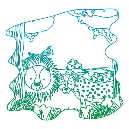 degraded line adorable lion and leopard friends animals in the forest vector illustration