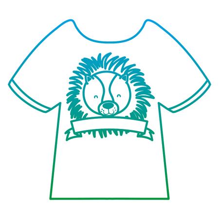 T-shirt décontracté ligne dégradée avec tête de lion et illustration vectorielle de style ruban