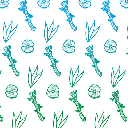 ligne dégradée fleur exotique et branche feuilles fond illustration vectorielle