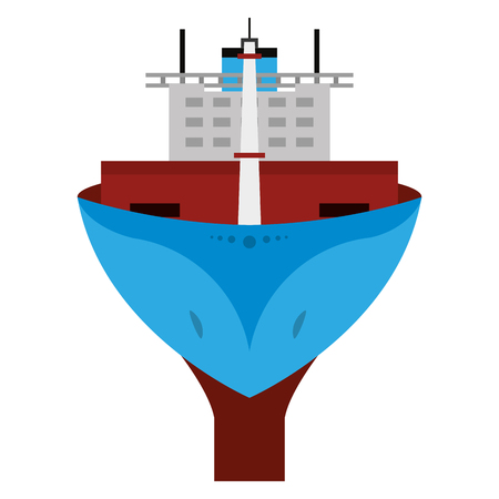front ship transport vehicle in the sea vector illustration