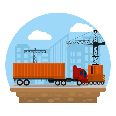 truck transport with container cargo and crane vector illustration Illustration
