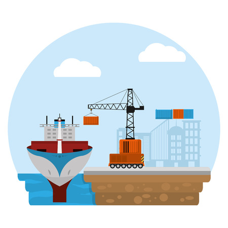 ship transport and crane with container cargo vector illustration