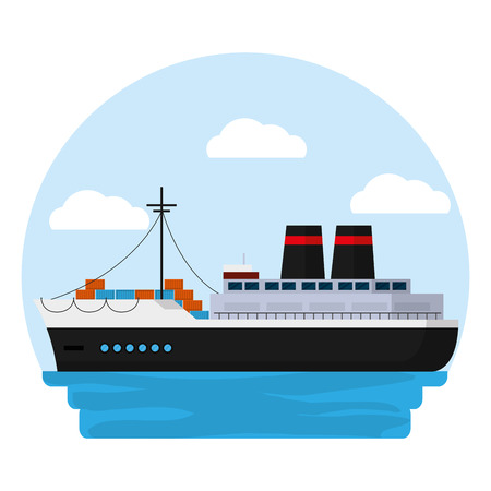 side ship transport with delivery containers vector illustration