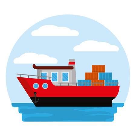 side ship transport with containers cargo vector illustration
