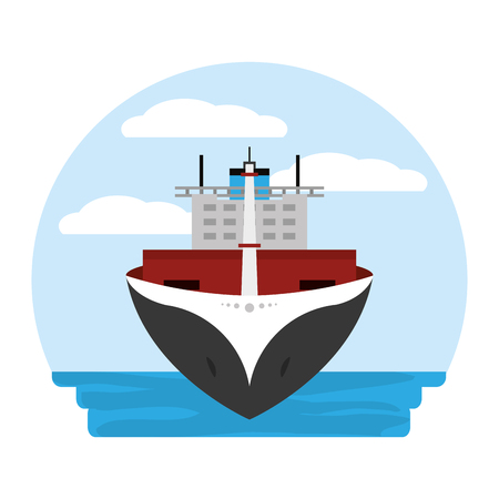 front ship transport sea vehicle vector illustration Illustration