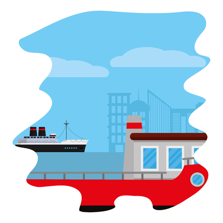 side ships delivery transport in the sea vector illustration Illustration