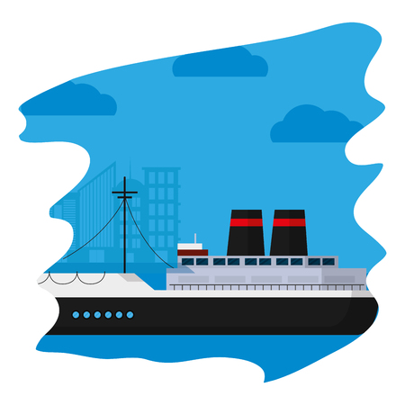 side ship transport ocean vehicle vector illustration