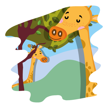 nice giraffes wild animals in the forest vector illustration
