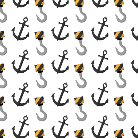 hook crane and anchor object background vector illustration