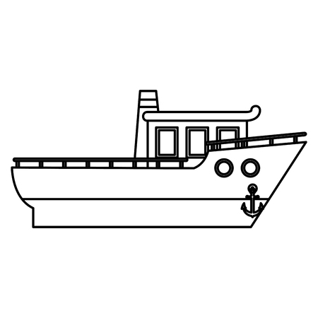line luxury nautical ship transport in the sea vector illustration