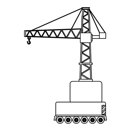 line side urban pulleys construction object vector illustration