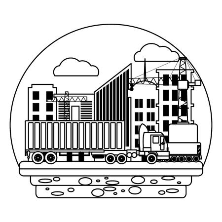line truck transport with container cargo and crane vector illustration