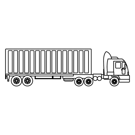 line side truck transport with container cargo vector illustration