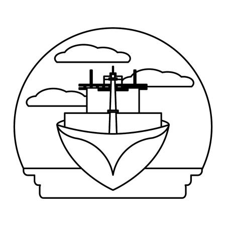 line front ship transport sea vehicle vector illustration