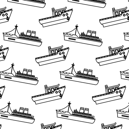 line ship transport sea vehicle background vector illustration
