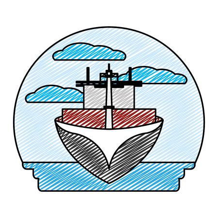 doodle front ship transport sea vehicle vector illustration