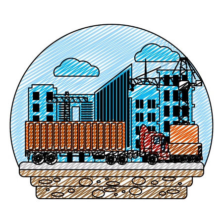 doodle truck transport with container cargo and crane vector illustration