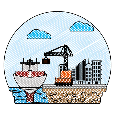 doodle ship transport and crane with container cargo vector illustration