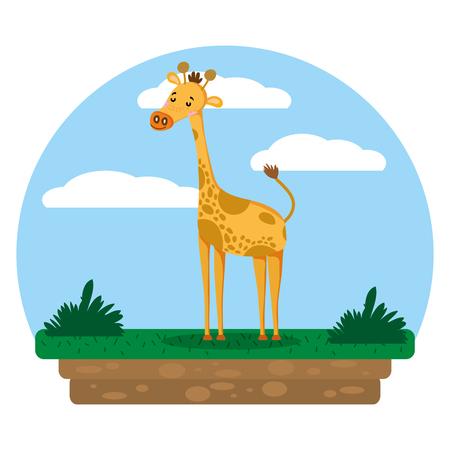 nice giraffe wild animal in the landscape vector illustration