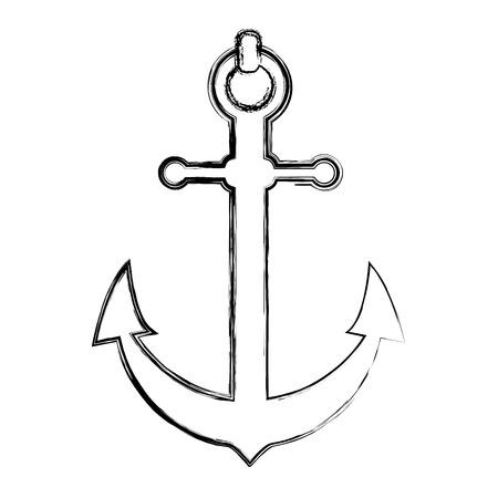 grunge nautical anchor object ship symbol vector illustration Illusztráció
