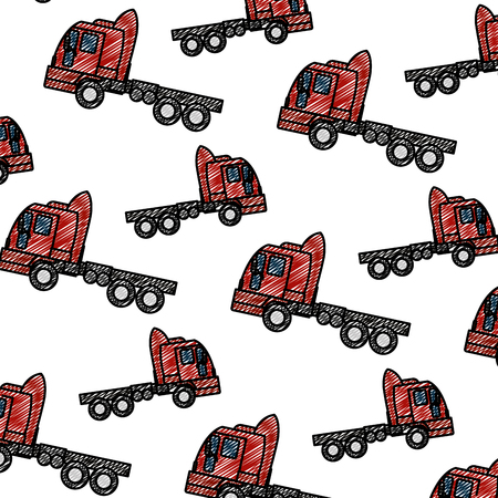 doodle side truck transport vehicle backkground vector illustration Иллюстрация