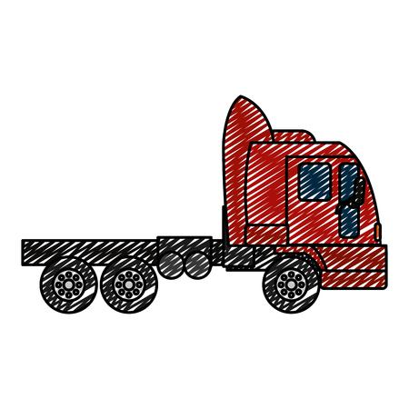 doodle side truck transport service vehicle vector illustration Illustration