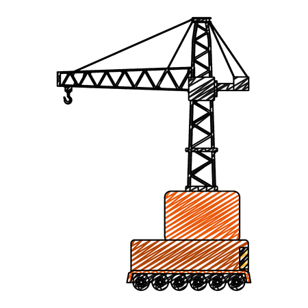 doodle side urban pulleys construction object vector illustration