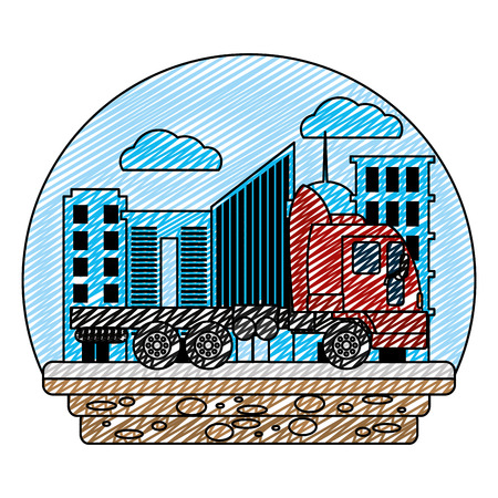 doodle side truck transport service in the city vector illustration