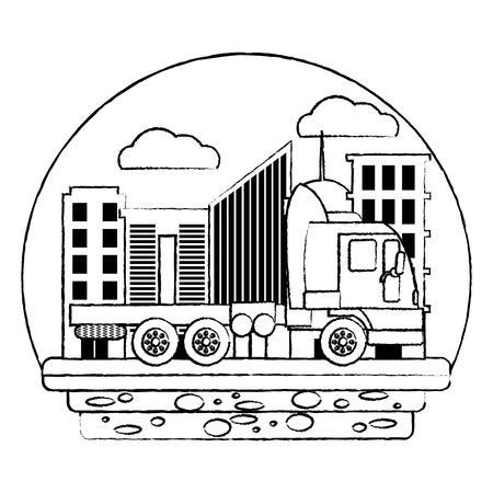 grunge side truck transport service in the city vector illustration