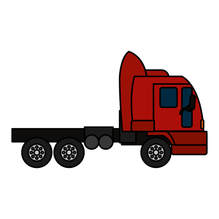 color side truck transport service vehicle vector illustration
