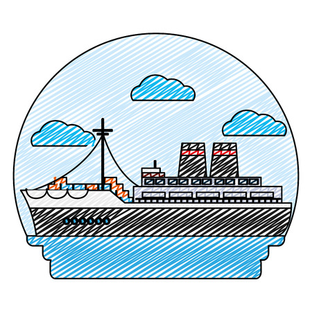 doodle side ship transport with delivery containers vector illustration Illustration