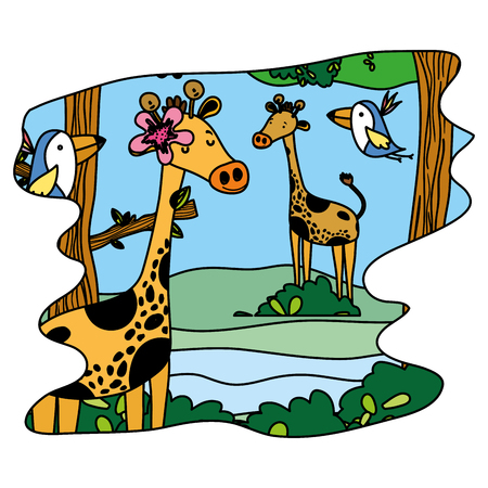color nice giraffes and birds wild animal in the forest vector illustration Illustration