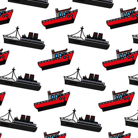 color ship transport sea vehicle background vector illustration
