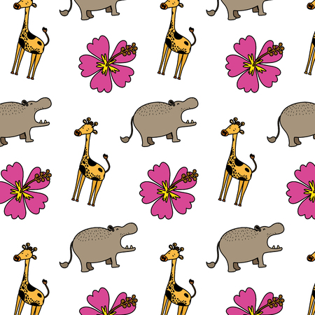 color hippopotamus and giraffe animals with flowers background vector illustration 矢量图像