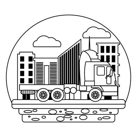line side truck transport service in the city vector illustration Illustration