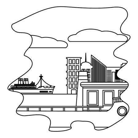 line side ships delivery transport in the sea vector illustration