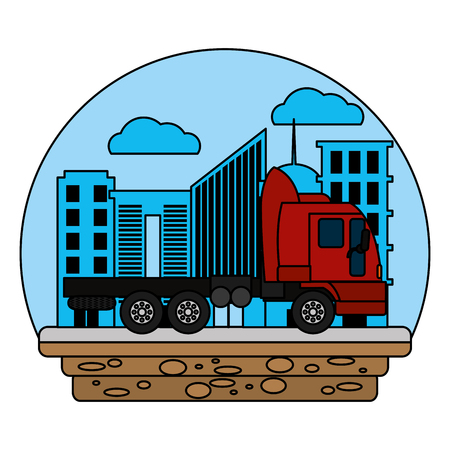 color side truck transport service in the city vector illustration