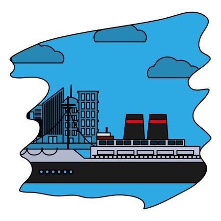color side ship transport ocean vehicle vector illustration
