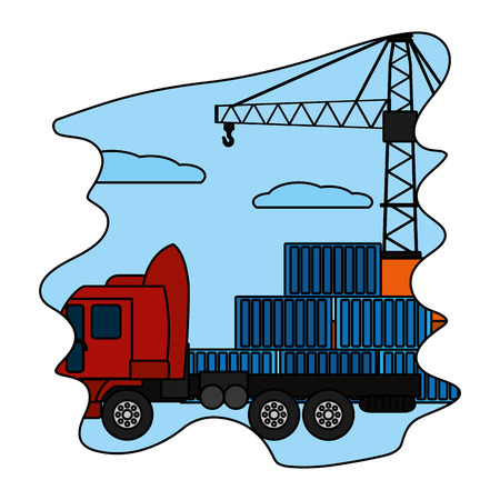 color cargo containers with truck transport and crane vector illustration