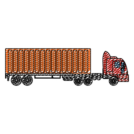 doodle side truck transport with container cargo vector illustration