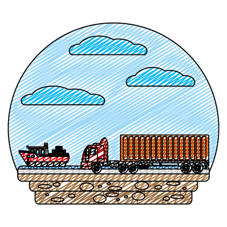 doodle delivery containers cargo with ship and truck vector illustration