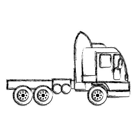 grunge side truck transport service vehicle vector illustration