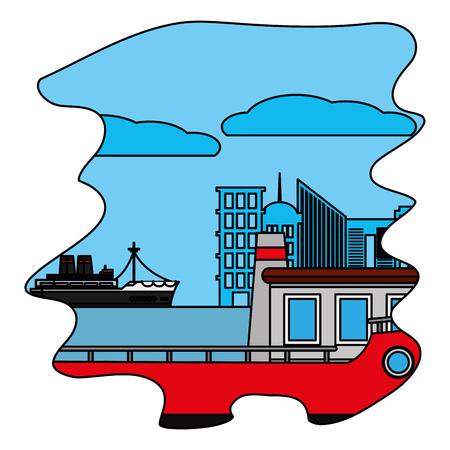 color side ships delivery transport in the sea Illustration